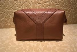 CL 100   YSL   Napa Leather Y-Sac Light Brown  Cosmetic Bag       New
