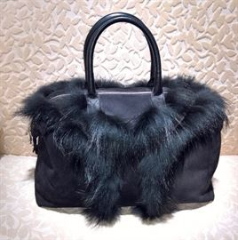 CL 2 -  YSL    Suede with Fox Fur Easy Bag    New