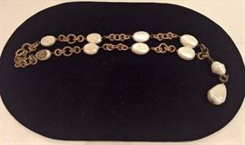 """CL 109    Chanel Vintage Bronze and  Pearl  Necklace  19""""L"""