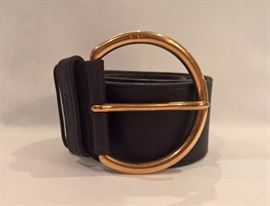 CL 36 -  Prada  Black Calf Skin Leather Large Gold Buckle  Size S