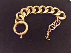 """CL 103  - YSL  Gold Color Chain Bracelet  8.5""""L"""