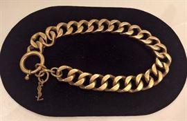 "CL 102  - YSL Gold Color Chain Choker 20"" L"