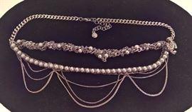 Mac 55  - Chanel  Chrome and Grey Pearl Multi-Chain Chocker
