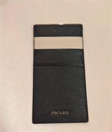 GA  - Prada  Black Leather Credit Card Holder