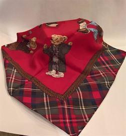 GA  - Ralph Lauren 36' Square Silk Teddy Bear Plaid Scarf