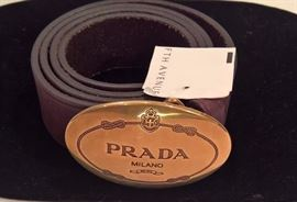 Cl 35  - Prada  Calf Skin Brown Leather Oval Gold Buckle