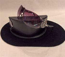 CL 59 - BVLGARI Gunmetal Shield Sunglasses with Swarovski  Crystals