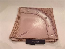 CL 44  - Gucci Taupe Silk Scarf with Buckle Print    New