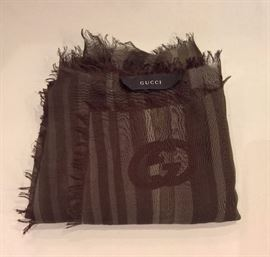 CL 50  - Gucci Green and Brown Striped Modal & Cashmere Scarf   New
