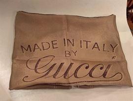 CL 45  - Gucci Brown Monogram Silk Scarf    New
