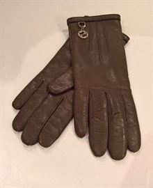 Cl 38  - Gucci Green Leather Gloves  Size 7  New