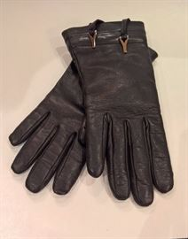 CL 39  - YSL Black Leather Gloves with Tie Top   Size 7  New