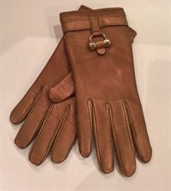 CL 99 - YSL  Bronze Leather Gloves   Size 7.5   New