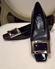RB  - Roger Vivier  Black Patent Leather with Silver Buckle   Never Worn   Size 6
