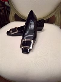 RB  - Roger Vivier Black Patent Leather with Silver Buckle   Worn  Size 6