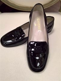 RB  - Chanel  Black Patent Leather Loafers    Worn  Size 36
