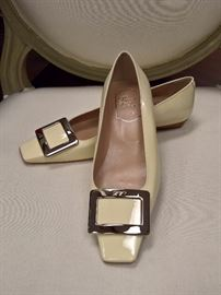 RB  - Roger Vivier  Cream Patent Leather with Silver Buckle    Size 6