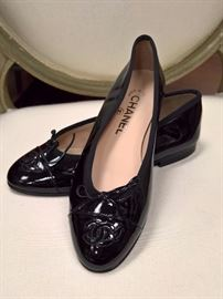 RB - Chanel Black Patent Leather Ballet Style with small Heel   Worn  Size 6 1/2