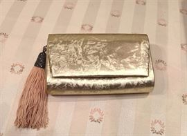 3V  - Judith Jack Gold Clutch with strap and tassle