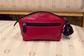 3V  - Barney's New York Red with Black Leather Make Up Bag