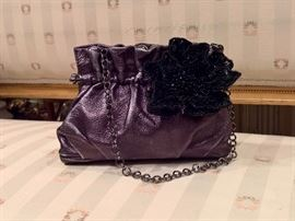 3V  - Salvatore Ferragamo Small Lather Bag with Beaded Flower on Front