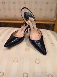 3V  - Manolo Black Leather Slingbacks   Size 36.5