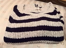 3V  - Maje  Black and Cream Striped Sweater  with Leather and Zippers on Sleeves   Size 3