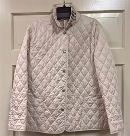 3V  - Burberry Tan Quilted Barn Coat with Plaid Lining  Size L