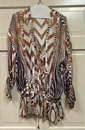 3V  - Roberto Cavalli    Animal Striped Blouse with Sinched Sleeves and Waist      Size S