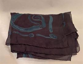 "3V  - Giorgio Armani  Black with Blue Silk Scarf  42"" x 60"""