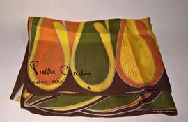 """3V  - Pierre Cardin Jeunesse Paris Siil Scarf with Orange, Yellow, Green and Brown  28"""" x 30"""""""