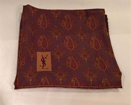 """3V  - YSL   - Silk Scarf   Brown with Paisley  34""""square"""