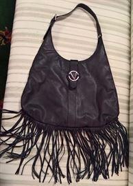 #7  - Valentino Black Fringe Leather Bag   NEW