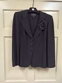 3V  - St. John Caviar  Black Blazer with 3 Buttons and Flower on the Lapel   Size 12