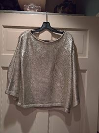 3V  - St. John Couture Painted Silk Sweater  Gold   Size M