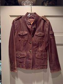 3V  - Tory Burch  - Brown Leather Safari Jacket   Size 10
