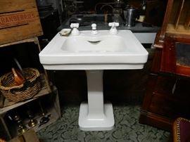Ca. 1916 pedestal sink with original hardware. Very fine cond.