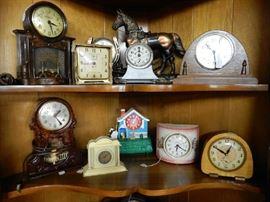 Clock collections from 2 different estates. Tall case, regulator, black mantle, shelf, wall, sunburst, etc.
