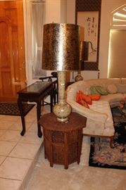 Rosewood end tables and tall, ornate lamps