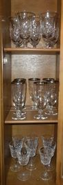 Waterford Crystal Stemware & Etched Crystal Stemware Set, rimmed in platinum