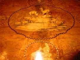 Detail of 19th Century German Blackforest Table with Hunt Scene Inlay