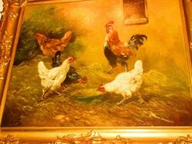 Oil on canvas of roosters, France, 19th Century