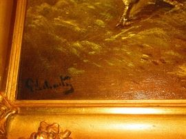 Signature of Oil on canvas of roosters