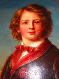 Detail of Continental Oil on Canvas of and Aristocrat Child, Painting is of the Finest Quality, Mid-Late 19th C.