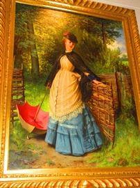 Oil on Canvas of a Victorian Lady, Edward Charles Barnes (1830-1882, British School)