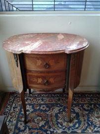 Louis XV Marble top Marquetry inland side table
