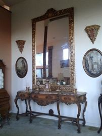 Huge Wood Carved Mirror( 6' by 10') ornate Rococo frame design