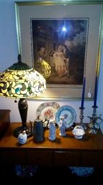 Tiffany style lamps and gorgeous engravings.