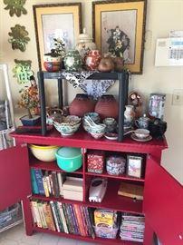 Asian decor, serving pieces, cookbooks