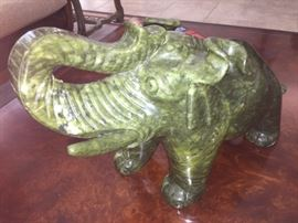 solid jade elephant over a 1 foot across